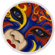 Lady Of Fire And Ice Round Beach Towel