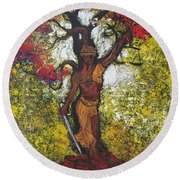 Lady Of Justice Round Beach Towel