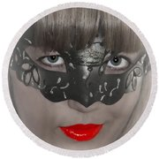 Lady Of The Opera Round Beach Towel