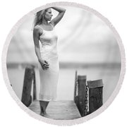 Lady On A Base 4 Round Beach Towel