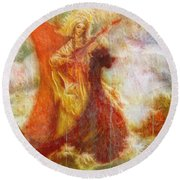 Lady On A Boat Round Beach Towel