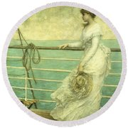 Lady On The Deck Of A Ship  Round Beach Towel