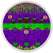 Lady Pandas Friends With Hat On Round Beach Towel