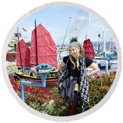 Lady Pirate And Friend Round Beach Towel