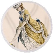 Lady Pulling Up Her Stocking, Engraved Round Beach Towel