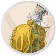 Lady Reclines On Chair Drinking Round Beach Towel