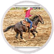 Lady Roping Round Beach Towel