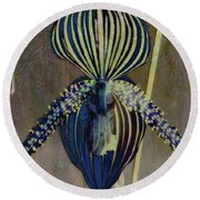 Lady Slipper Secret Garden Round Beach Towel