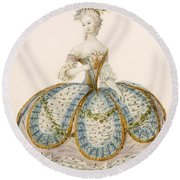 Lady Wearing Dress For A Royal Round Beach Towel