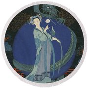 Lady With A Dragon Round Beach Towel