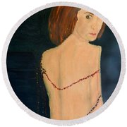 Lady With Beads From Shan Pecks Photograthy  Round Beach Towel