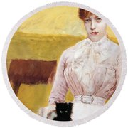 Lady With Black Kitten Round Beach Towel