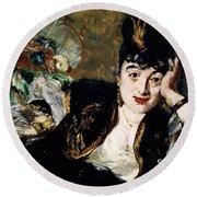 Lady With Fan Portrait Of Marie Anne De Callias Known As Nina De Callias Round Beach Towel