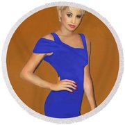 Lady With The Blue Dress Round Beach Towel
