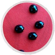 Ladybirds In Formation Round Beach Towel