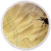 Ladybug On A Sunflower Round Beach Towel