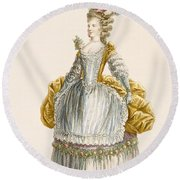 Ladys Ball Gown, Engraved By Dupin Round Beach Towel
