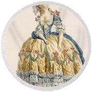 Ladys Elaborate Ball Gown, Engraved Round Beach Towel