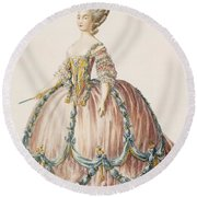 Ladys Gown For The Royal Court Round Beach Towel
