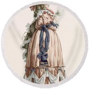 Ladys Summer Walking Gown, Engraved Round Beach Towel