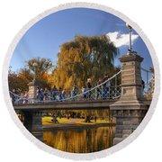 Lagoon Bridge In Autumn Round Beach Towel by Joann Vitali