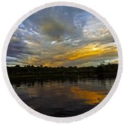 Lagoon Sunset In The Jungle Round Beach Towel