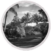 Lahaina Palm Shadows Round Beach Towel