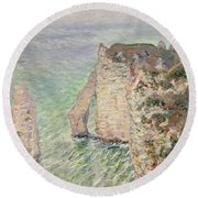 Laiguille And The Porte Daval   Etretat Round Beach Towel
