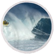 Laird Hamilton Going Left At Jaws Round Beach Towel by Bob Christopher