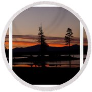 Lake Almanor Sunset Triptych Round Beach Towel