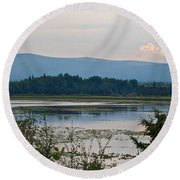 Lake Along Klondike Highway-yt Round Beach Towel
