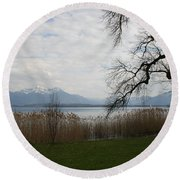 Lake And Mountains Round Beach Towel