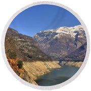 Lake And Snow-capped Mountain Round Beach Towel