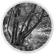 Lake Bench In Black And White Round Beach Towel
