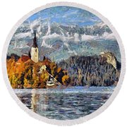 Lake Bled And Mountains Round Beach Towel
