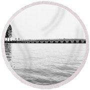 Lake Bridge Mono Round Beach Towel