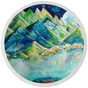 Lake By The Moon Light Round Beach Towel