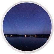 Lake Cascade Idaho By Night Round Beach Towel