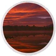 Lake Cassidy Draatic Sunrise Round Beach Towel