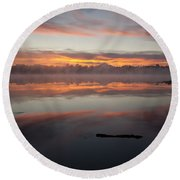 Lake Cassidy Reflections Dramatic Clouds Round Beach Towel