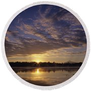 Lake Cassidy With Mount Pilchuck Round Beach Towel