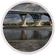 Lake Champlain Bridge Round Beach Towel