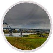 Lake Champlain Bridge Panorama From Crown Point Round Beach Towel