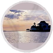 Lake Como On The Gulf Coast Sunset Round Beach Towel