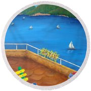 Lake Como Round Beach Towel