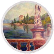 Lake Como View Round Beach Towel