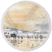 Lake Constance In Winter Round Beach Towel