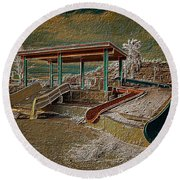 Lake Delores Water Park Round Beach Towel
