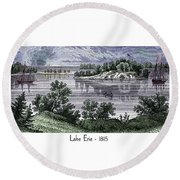 Lake Erie - 1815 Round Beach Towel