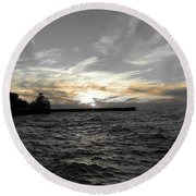 Lake Erie Lights Round Beach Towel
